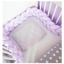 Infant Soft Pad Braided Crib Bumper Knot Pillow Cushion Cradle Decor for Baby Girl and Boy (Purp ...