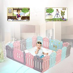 LONTEK Baby Playpen Kids Activity Center Safety Play Yard Home Indoor – Outdoor (Multicolo ...