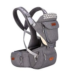 SUNVENO Baby Hip Seat Ergonomic Baby Carrier 3in1 Baby Hipseat for Outdoor Travel Waist Stool(Gray)