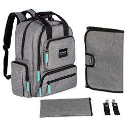 YavoBaby Diaper Bag Backpack – Large Capacity 18 Pocket Multi-Functional Unisex Travel Bac ...