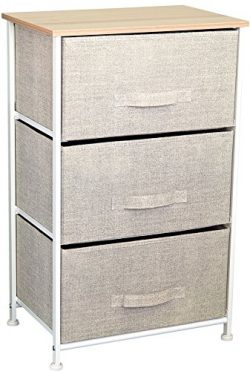 3 Drawer Storage Cube Nightstand Dresser for Nursery, Bathroom, or Bedroom (Size: 17.7″ x  ...