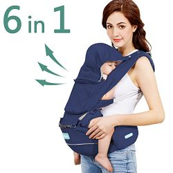 Windsleeping 360° Ergonomic Baby Carrier with Hip Seat for All Seasons,6-in-1 Ways to Carry Baby ...