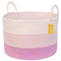 OrganiHaus XXL Extra Large Cotton Rope Basket   20″x13.5″ Blanket Storage Basket wit ...
