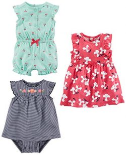 Simple Joys by Carter's Baby Girls' 3-Pack Romper, Sunsuit and Dress, Mint Cherries/ ...