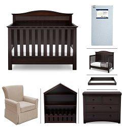 Serta Barrett 7-Piece Nursery Furniture Set – Convertible Crib, Toddler Rail, Dresser, Cha ...