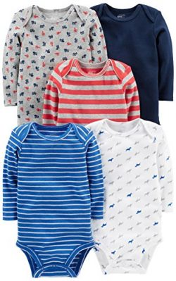Simple Joys by Carter's Baby Boys' 5-Pack Long-Sleeve Bodysuit, Blue/Red/Grey, 3-6 M ...