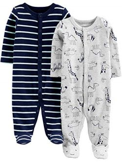 Simple Joys by Carter's Boys' 2-Pack Cotton Footed Sleep and Play, Animals Green/Str ...