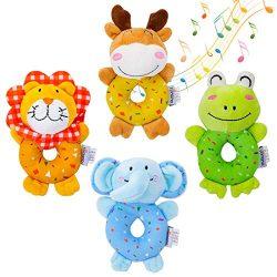 TUMAMA Baby Soft Rattles Set, Infant Developmental Hand Grip Baby Toys, Cute Stuffed Animal with ...