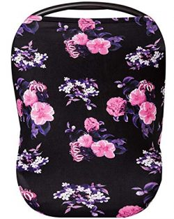 Premium Soft Floral Black Multi-Use Cover for Nursing and Carseat Canopy, Baby Car Seat, Breastf ...