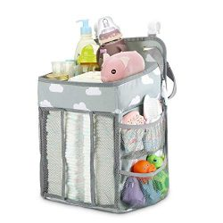 Elebor Nursery Organizer and Baby Diaper Caddy, Hanging Diaper Stacker Storage for Changing Tabl ...