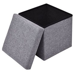 12″ Storage Ottoman Cube and Foot Rest 1 Packs,PinkSky Home Foldable Tufted Linen Storage, ...