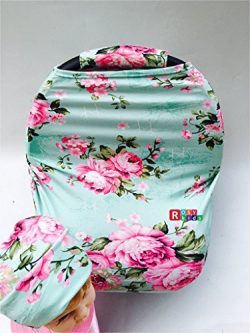 Rosy Kids Stretchy Infant Car Seat Canopy Cover, Jersey Car Seat Cover Elastic Nursing Scarf Pri ...