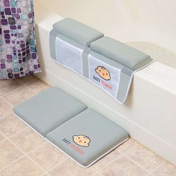 Bath Kneeler with Elbow pad Rest Set- Padded Knee mat for tub Bathing and Bathroom time. Bathtub ...