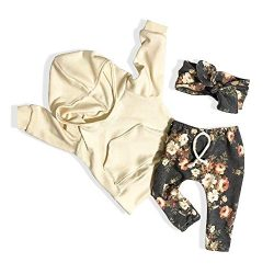 Baby Girl Clothes Long Sleeve Hoodie Sweatshirt Floral Pants with Headband Outfit Sets(6-12 Months)