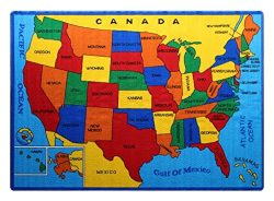 Kids Rug USA Map Area Rug 5′ x 7′ Children Area Rug for Playroom & Nursery &#821 ...