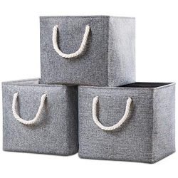 Prandom Large Foldable Cube Storage Baskets Bins 13×13 inch [3-Pack] Fabric Linen Collapsib ...