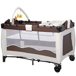 BABY JOY Baby Crib Foldable Playpen Portable Playard Pack Travel Infant Bassinet Bed with 2 Lock ...