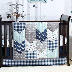 Woodland Trail 3 Piece Forest Animal Theme Patchwork Baby Boy Crib Bedding Set – Navy Blue ...