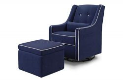DaVinci Owen Upholstered Swivel Glider with Side Pocket and Storage Ottoman, Navy with Cream Piping