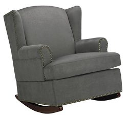 Baby Relax Harlow Wingback Nursery Room Rocker with Nail Heads, Charcoal