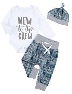Newborn Baby Boy Clothes Crew Letter Print Romper+Long Pants+Hat 3PCS Outfits Set (0-3M)