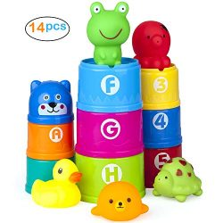 Vstarner Stacking Cups Baby Bath Toys Educational Toddler Toys Baby Toys Rubber Animals BPA Free ...