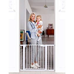 Cumbor 43.5″Auto Close Safety Baby Gate,Extra Tall and Wide Child Gate,Easy Walk Thru Dura ...