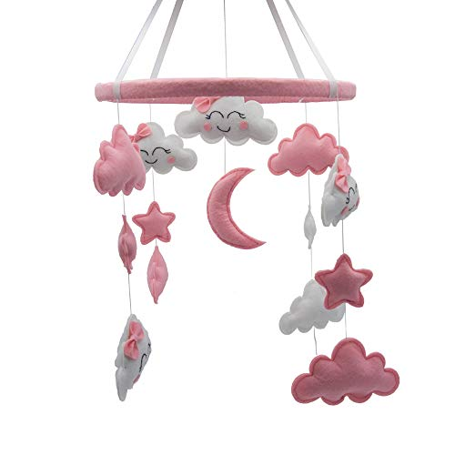 Baby Mobile for Crib Felt, Hanging Toys, Nursery Decor for Girls | White & Pink Room Decorat ...
