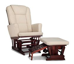 Graco Sterling Semi-Upholstered Glider and Nursing Ottoman, Cherry/Beige Cleanable Upholstered C ...