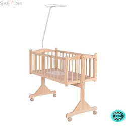 SKEMiDEX—Wood Baby Cradle Rocking Crib Bassinet Bed Sleeper Born Portable Nursery Yellow T ...