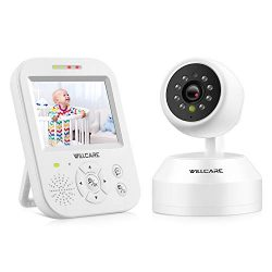 Video Baby Monitor with Camera, HD Night Vision, Two-Way Talk, Wall Mounted, Remote Pan Tilt Cam ...