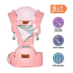 Bable Baby Carrier with Hip Seat, 6-in-1 Ergonomic Baby Carrier for Infants and Toddler, Soft Ex ...