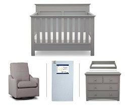 Serta Fall River 5-Piece Nursery Furniture Set (Serta Convertible Crib, 4-Drawer Dresser, Changi ...
