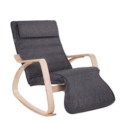 SONGMICS Relax Rocking Chair, Lounge Chair, Recliners Gliders with 5-Way Adjustable Footrest, Na ...