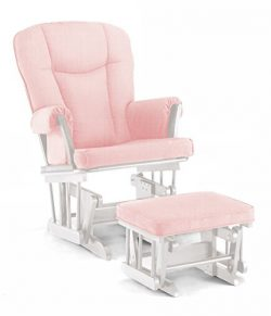 Lennox Stanton Transitional Style Glider Chair and Ottoman Combo, White with Pickwick Pink