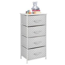 mDesign Tall Vertical Dresser Storage Tower – 4 Drawers – Sturdy Steel Frame, Wood T ...