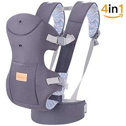 TIANCAIYIDING Ergonomic Baby Carrier Wrap with Hip Seat Soft Breathable Cotton Hood Air Mesh Fro ...