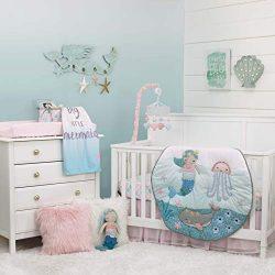 NoJo Sugar Reef Mermaid 4 Piece Nursery Crib Bedding Set Nursery Organizer, Aqua/Teal/Pink