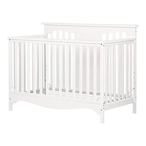South Shore 11846 Savannah, Pure White Baby Crib 4 Heights with Toddler Rail