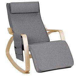 Relax Adjustable Lounge Rocking Chair with Pillow & Pocket Comfortable Armrest Backrest Adju ...