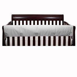 Solid Grey Front Crib Rail Guard Padded Protector – 100% Cotton Fabrics