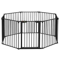 Bonnlo 197-Inch Wide Metal Configurable Baby Safety Gate 8 Panel Adjustable Play Yard Metal Fire ...