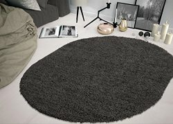 Sweet Home Stores COZY2764-OVAL Shaggy Rug, 5'3″ x 7'0″ Oval, Charcoal Grey