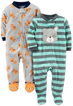 Simple Joys by Carter's Baby Boys' 2-Pack Fleece Footed Sleep and Play, Tiger/Dog, 3 ...