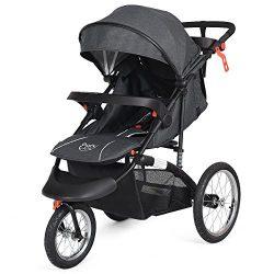 BabyJoy Jogger Stroller, Infant Travel Portable Jogging Stroller, Folding Pushchair w/Cup Phone  ...