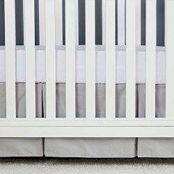 TILLYOU Gray Pleated Crib Skirt, 100% Natural Cotton, Nursery Crib Bedding Skirt for Baby Boys a ...