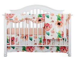 Sahaler 4PCS Crib Rail Guard Set Boho Floral Nursery Baby Bedding Ruffled Crib Skirt Crib Rail C ...