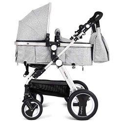 BABY JOY Baby Stroller, Aluminum 2-in-1 Foldable Toddler Stroller, Convertible Bassinet Reclinin ...