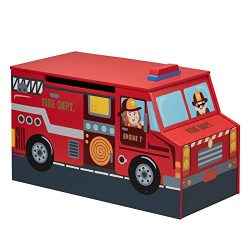 Fantasy Fields – Little Fire Fighters themed Kids Wooden Toy Chest with Safety Hinges  Han ...