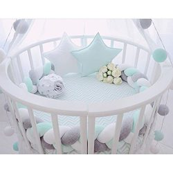 Infant Soft Pad Braided Crib Bumper Knot Pillow Cushion Cradle Decor for Baby Girl and Boy (Whit ...